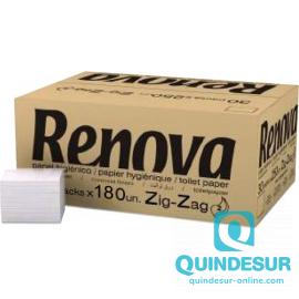 SERVILLETA Zig-Zag 2/C INTERPLEGADA 22X11 Cm RENOVA (Caja 60 paq/180 Uds)