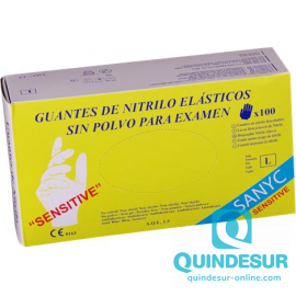 GUANTES NITRILO AZUL SIN POLVO SENSITIVE TALLA P (10 Pack de 100 Uds)